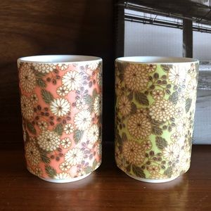 Porcelain Floral Printed Mini Cups Set of 2